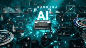 3D Render animation of AI Artificial intelligence in CPU chipset central processor unit and electric print circuit board with data