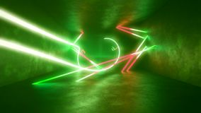 4k 3d render, looped animation tunnel, abstract seamless background, fluorescent ultraviolet light, glowing neon lines stock video