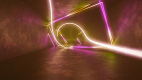 4k 3d render, looped animation tunnel , abstract seamless background, fluorescent ultraviolet light, glowing neon lines. 3d render, abstract seamless background royalty free illustration