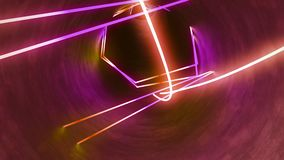 4k 3d render, looped animation tunnel , abstract seamless background, fluorescent ultraviolet light, glowing neon lines stock video