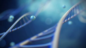 4K 3d rindió la cantidad del primer con los dobleces de la molécula de la DNA a una hélice Ciencia del fondo o vídeo médico