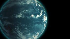 4K, das langsam Erde vorbei in der Raumnacht, nahtloser geschlungener Hintergrund der Animation 3d dreht lizenzfreie abbildung