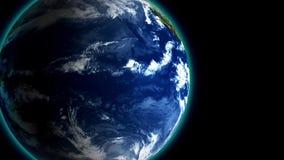 4K, das langsam Erde vorbei in der Raumnacht, nahtloser geschlungener Hintergrund der Animation 3d dreht Helle und Kontrastansich lizenzfreie abbildung