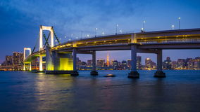 4K Day to Night timelapse of Rainbow Bridge, Tokyo, Japan stock video footage