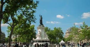 4K DCI Hyperlapse в Париже, месте de republique видеоматериал