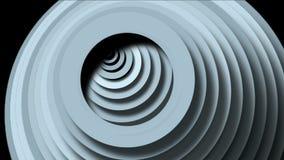 4k de abstracte cirkelring maakt 3d tunnelgat, 3d document de golfruimte van rimpelingenkaarten rond stock videobeelden