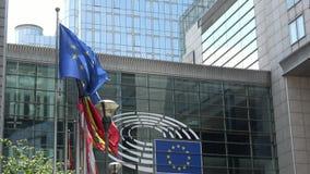 4K De bouw van het Europees Parlement in Brussel, België stock footage
