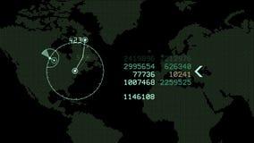 4k de globale GPS-gegevens ontdekken van de Radargps van de aardekaart militaire de navigatieinterface stock videobeelden