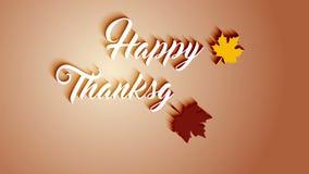 4K de kaart van de dankzeggingsgroet met de Gelukkige van letters voorziende teksten van de Dankzeggingsanimatie De dankzeggingsk stock footage