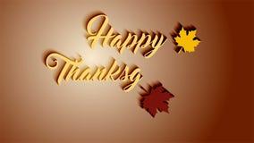 4K de kaart van de dankzeggingsgroet met de Gelukkige van letters voorziende teksten van de Dankzeggingsanimatie De dankzeggingsk stock videobeelden