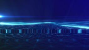 4K de naadloze lengte met deeltjes vormt lijnen, oppervlakten, netglitches vector illustratie