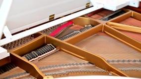 4K dentro dei martelli di un pianoforte a coda che si muovono mentre il pianista gioca stock footage