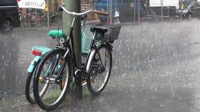 4K Deszcz na alei w Berlin Dwa bicyklu dostają mokrymi zbiory