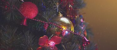 4,5k video of details of a Christmas tree, decorations and lights. stock footage
