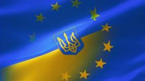 4k detalló altamente la bandera del europeo y de Ucrania stock de ilustración