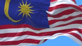 4k dichte omhooggaand van de vlag van Maleisië het langzame golven in wind Alpha- inbegrepen kanaal stock footage