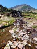 4k, die Rocky Mountain-Gletscher überraschen, strömen Wasserfall im Sommer mit Blumen Lizenzfreie Stockbilder