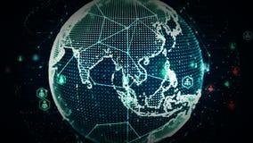 4K Digital World Networks of Blue royalty free illustration
