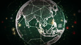 4K Digital World Networks of People Green stock illustration