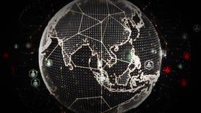 4K digitale Wereldnetwerken van Mensenplatina stock illustratie