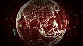 4K digitale Wereldnetwerken van Mensenrood royalty-vrije illustratie