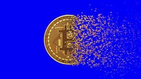 4K. Disintegration Of Bitcoin. Blue Screen.