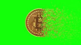 4K. Disintegration Of Bitcoin. Green Screen.