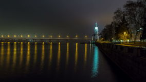 4K. Dnepropetrovsk At Night, Time Lapse 2. 4K. Central Bridge Crosses Over The Dnepr River Into Dnepropetrovsk, Ukraine, Time Lapse stock video footage
