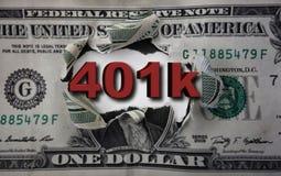 401k dollar breakthrough. 3D 401K text breaking through a torn dollar bill stock photo