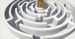 4k dollar symbol in center of maze,businessman stand in the labyrinth entrance. stock video footage