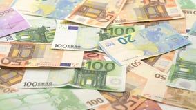 4K Dolly ślizga się strzałów euro rachunki różne wartości Euro got?wkowy pieni?dze zdjęcie wideo