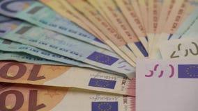 4K Dolly euro ślizgowi rachunki różne wartości Euro rachunek pięćset zbiory