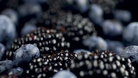 4k dolly video of lots of blackberries and blueberries lying on desk. Perfect abstract background for organic food and