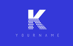 K Dotted Letter Logo Design with Blue Background. Royalty Free Stock Photo