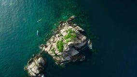 4K Drone; Above Shark Island, Koh Tao, Thailand stock footage