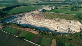 4K drone aerial footage. Fly around a mountain stone quarry. Drone aerial footage. Fly around a mountain stone quarry stock video