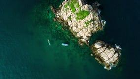 4K Drone; Circling above Shark Island, Koh Tao, Thailand stock video