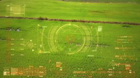 Drone shot flying aerial view with User interface text graph bar and target pointer element futuristic and cyber technology
