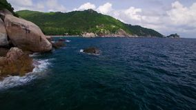 4K Drone; Tanote Bay Fly-in, Koh Tao, Thailand stock video