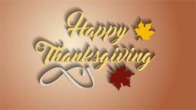 4K dziękczynienia kartka z pozdrowieniami z Szczęśliwym dziękczynienia literowania tekstem Ifinity pętli dziękczynienia karta Żół