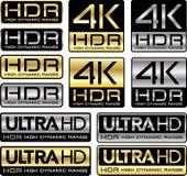 4K e ultra logotipos de HD com menção de HDR ilustração stock