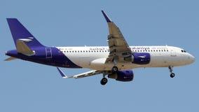 9K-EAH Wataniya Airways, Airbus A320-200. 9K-EAH is on final approach runway 06 at Istanbul Sabiha Gokcen Airport LTFJ, August 31, 2018 royalty free stock photos