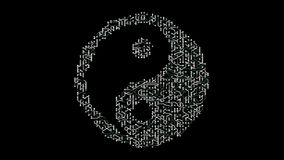 4k eine futuristische Leiterplatte mit beweglichen Elektronen formte Orient-taiji Symbol stock abbildung