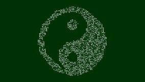 4k eine futuristische Leiterplatte mit beweglichen Elektronen formte Orient-taiji Symbol lizenzfreie abbildung