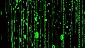 4k el código binario del estilo de la matriz, número descendente, fondo futuro abstracto de la tecnología stock de ilustración