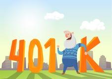 401K emerytura konto, emerytura Szczęśliwy starsza osoba mężczyzna w fron akronim i pejzaż miejski Barwiona płaska wektorowa ilus royalty ilustracja