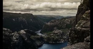 4K, Epic and dramatic time lapse of Preikestolen in Norway stock video footage