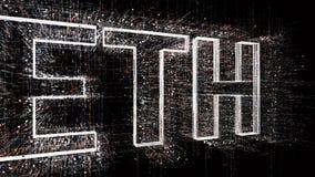 4k ETH Valuta di Ethereum Il codice macchina binario di stile della matrice royalty illustrazione gratis