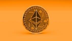 4k Ethereum硬币以太隐藏货币商标3D转动财务金钱事务 向量例证