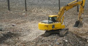 4k excavator working & dumper truck on construction site,china. Gh2_10809_4k stock footage